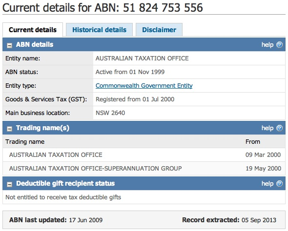 Australian Taxation Office ABN: 51 824 753 556