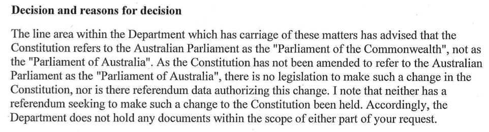 Parliament of Australia vs Commonwealth FOI excerpt