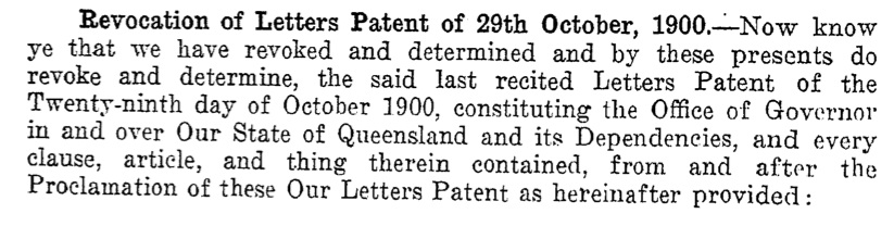 Excerpt from Queensland Letters Patent 1925