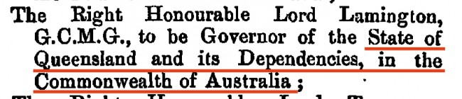 Link to Letters Patent QLD 1900 in London Gazette